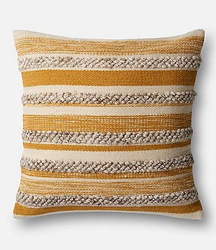 Magnolia Home Zander Textured Striped Oversized Square Feather Pillow