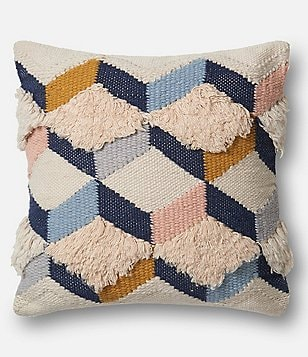 Magnolia Home by Joanna Gaines Brant Textured Geometric Oversized Square Feather Pillow