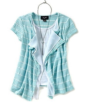 I.N. Girl Big Girls 7-16 Striped 2-Fer Cardigan Top