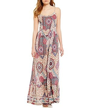 Patrons Of Peace Printed Crepe Keyhole Back Maxi Dress