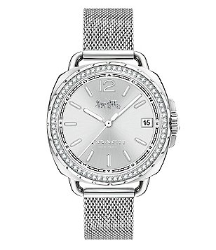 COACH TATUM STAINLESS STEEL MESH BRACELET WATCH