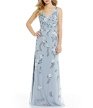 Adrianna Papell Plunging V-Neck Floral Beaded Gown