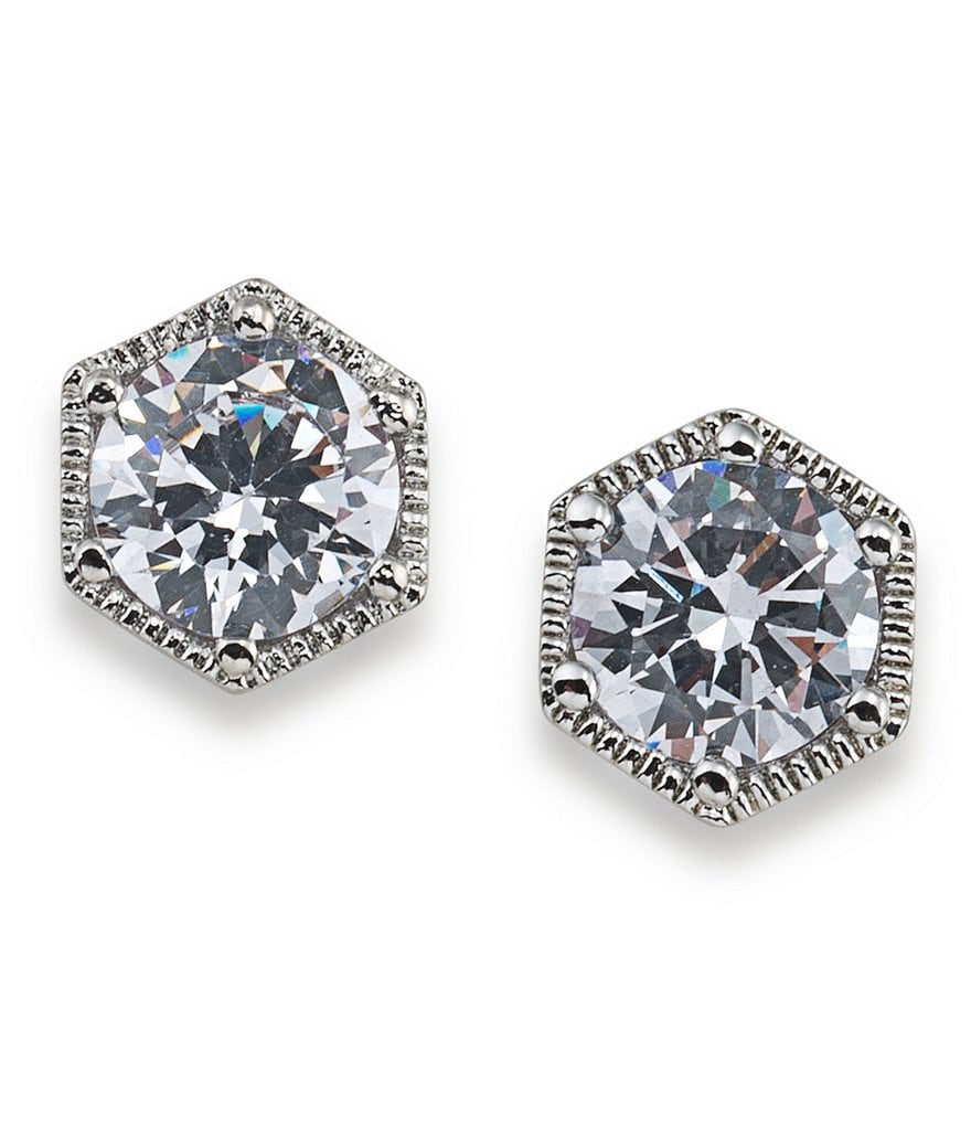 Lauren Ralph Lauren Headlines Cubic Zirconia Hexagon Stud Earrings