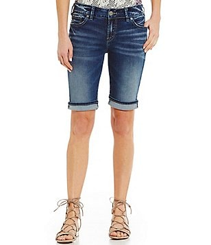 Silver Jeans Co. Suki Bermuda Woven Stretch Cuffed Denim Shorts