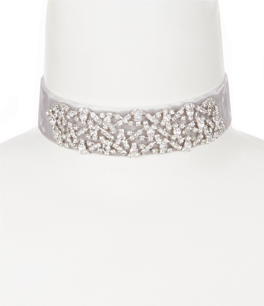 Cezanne Velvet Scroll Choker Necklace