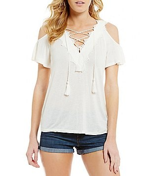 Jessica Simpson Kiki Lace-Trimmed Lace-Up V-Neck Cold Shoulder Blouse