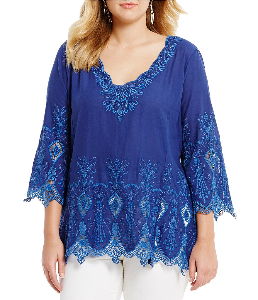 Reba Plus Anna Embroidered Tunic