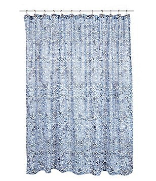 Southern Living Tile-Print Cotton & Flax Shower Curtain