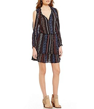 Jessica Simpson Boho Floral Stripe Peasant Dress