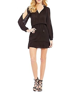 Jessica Simpson Meadow Solid Split-Sleeve Peasant Dress