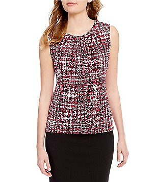 Calvin Klein Petites Abstract Plaid Print Pleat Neck Matte Jersey Shell