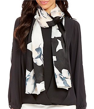 Vince Camuto X-Ray Blossom Silk Oblong Scarf