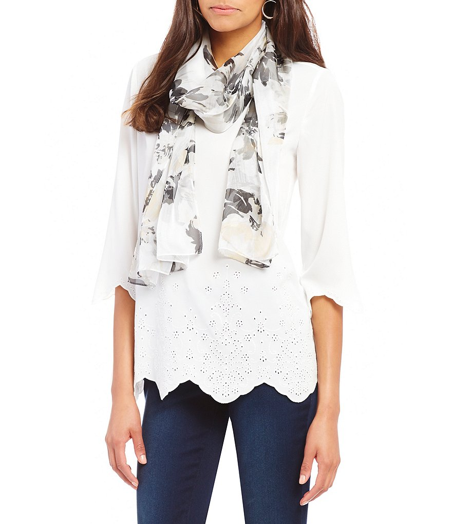 Collection 18 Floral Garden Oblong Scarf