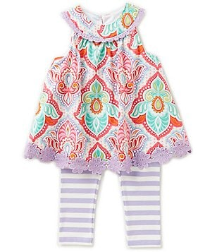 Counting Daisies Little Girls 2T-6X Printed Crochet Top & Striped Leggings Set