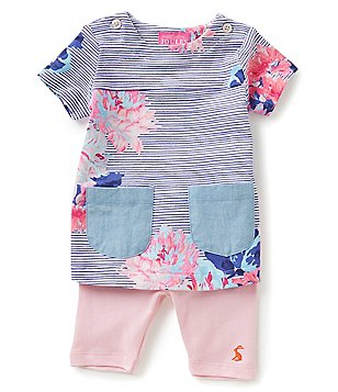 Joules Baby Girls Newborn-12 Months Printed Patch-Pocket Tee & Leggings Set