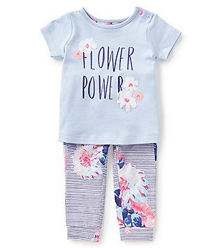 Joules Baby Girls Newborn-12 Months Flower Power Top & Printed Pants Set