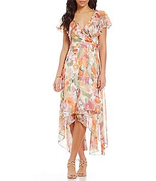 Adrianna Papell Floral Printed Chiffon Wrap Maxi Dress