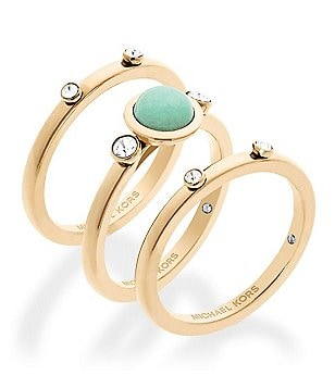 Michael Kors Easy Opulence Jade Stacked Ring Set
