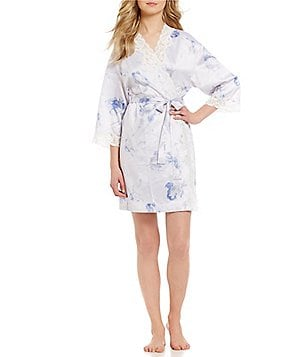 Lauren Ralph Lauren Signature Lace and Satin Floral Wrap Robe
