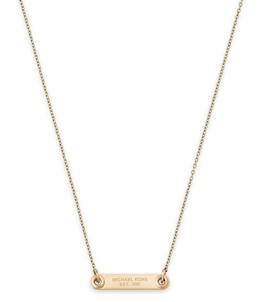Michael Kors Haute Hardware ID Plaque Pendant Necklace