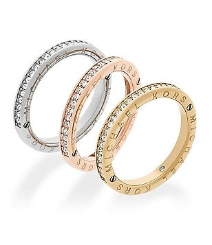 Michael Kors Haute Hardware Tri-Tone Logo Stacked Ring Set
