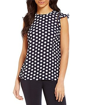 MICHAEL Michael Kors Lottie Dot Print Flounce Cap Sleeve Top