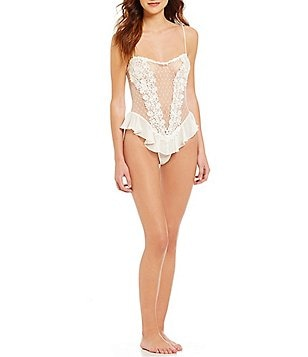 Flora Nikrooz Showstopper Netting & Lace Teddy