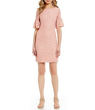 Ivanka Trump Ruffled Bell Sleeve Lace Dress