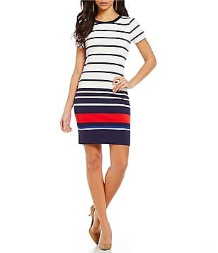 MICHAEL Michael Kors Stripe Ottoman Rib Knit Short Sleeve Dress