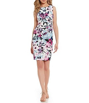 Ivanka Trump Starburst-Pleated Floral Scuba Crepe Sheath Dress