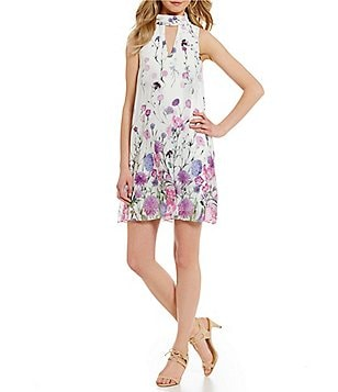 Ivanka Trump Border Floral Printed Georgette A-Line Dress