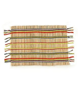 Fiesta Jamboree Fringed Striped Bamboo & Cotton Placemat