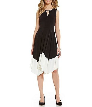 Ivanka Trump Matte Jersey Handkerchief Hem Dress