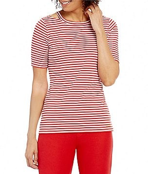 MICHAEL Michael Kors Cut-Out Neck Stripe Knit Tee
