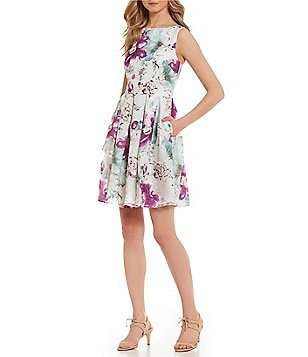 Ivanka Trump Pleated Floral Fit-and-Flare Dress