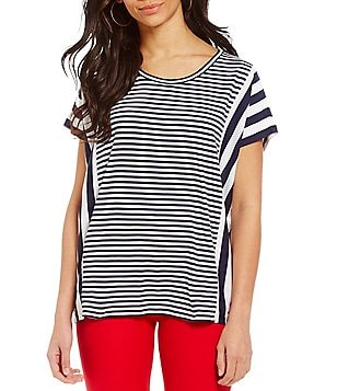 MICHAEL Michael Kors Mixed Stripe Paneled Knit Top