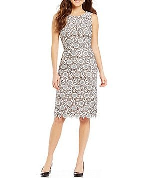 Ivanka Trump Embroidered Floral Lace Sheath Dress