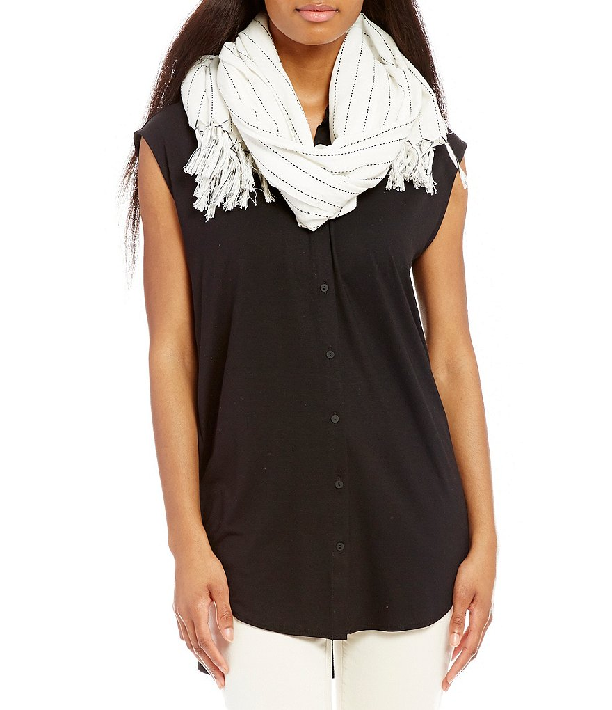 Eileen Fisher Fringed Stitch-Striped Organic Cotton Scarf