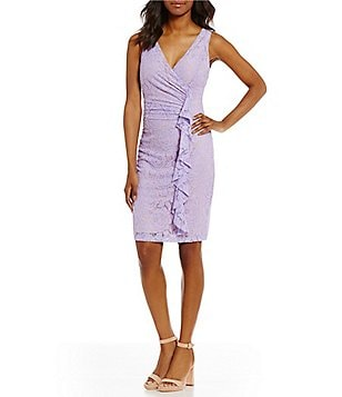 Ivanka Trump Faux Wrap Ruffle Front Stretch Lace Dress