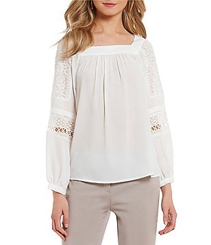 Ivanka Trump Long Sleeve Embroidered Georgette Peasant Top