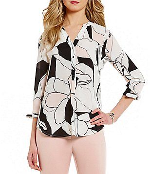 Ivanka Trump Abstract Floral Crepe de Chine Top