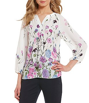 Ivanka Trump Floral Border Print Peasant Top
