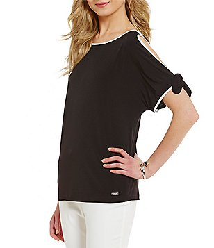 Ivanka Trump Contrast Trim Matte Jersey Cold-Shoulder Top