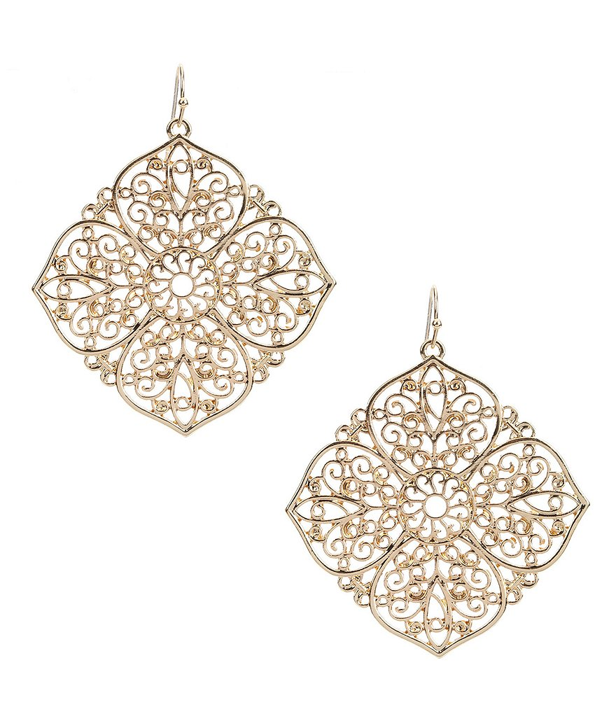 Natasha Accessories Cutout Flower Statement Drop Earrings
