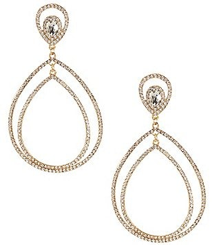 Natasha Accessories Pavé Double-Teardrop Earrings