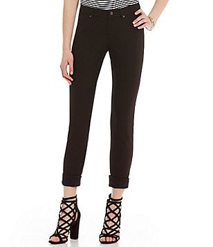 HUE Lace-Cuff Denim Skimmer Leggings