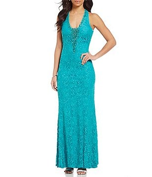 Ignite Evenings Halter Tie-Back Glitter Lace Gown