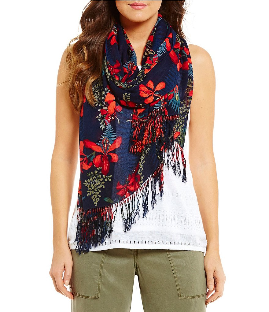 Tommy Bahama Sacred Groves Beaded Fringed Floral Wrap
