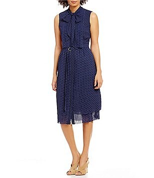 MICHAEL Michael Kors Tiny Dots Printed Georgette Tie-Neck Pleated Shirtdress