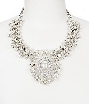 Natasha Accessories Faux-Pearl & Crystal Statement Necklace